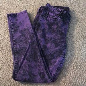 Purple Acid Wash Skinny Jeans size 13